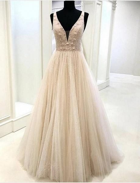 Fascinating V-neck Tulle A-line Evening Dress_1