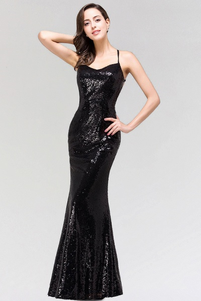 BM0293 Elegant Mermaid Sequined Long Black Bridesmaid Dress with Spaghetti Straps_2