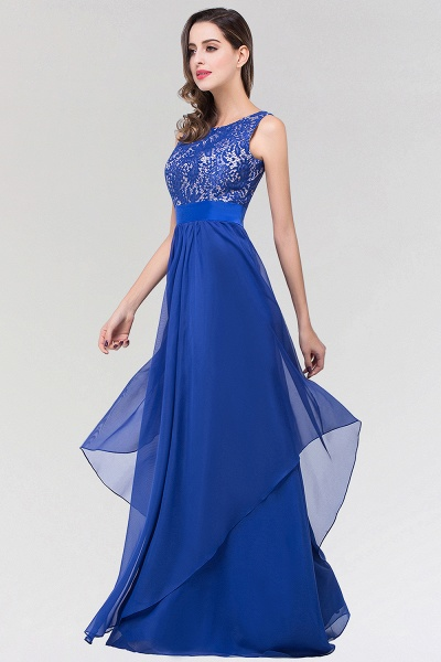 A-line Chiffon Lace Jewel Sleeveless Floor-length Bridesmaid Dresses_4