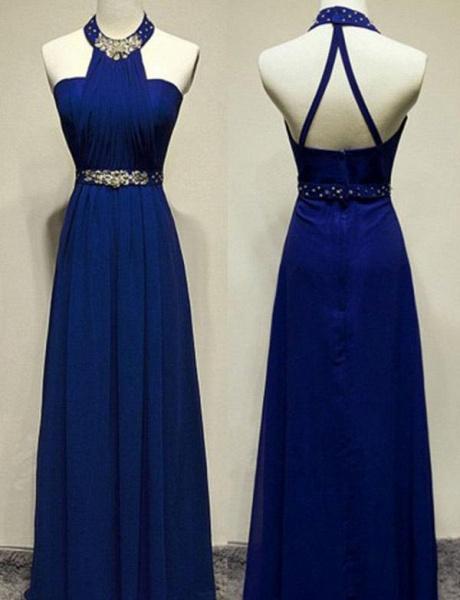 Modern Beading A-Line Sleeveless Floor-Length Jewel Prom Dress_1
