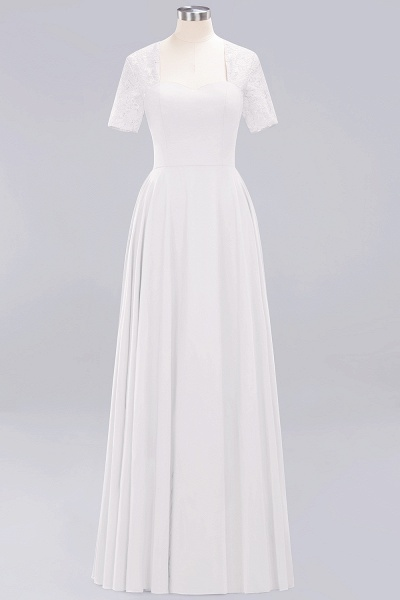 A-Line Chiffon Square Short Sleeves Bridesmaid Dress with Ruffle_1
