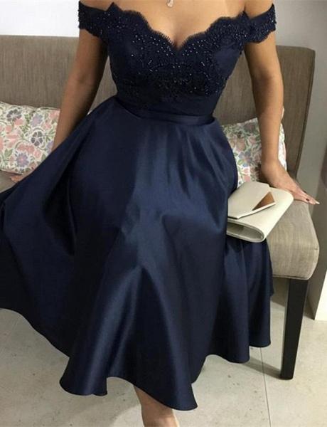 Elegant Beading A-Line Appliques Off-the-Shoulder Tea-Length Homecoming Dress_1