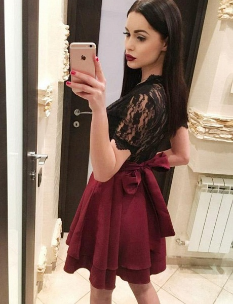 Modest V-neck Lace A-line Homecoming Dress_4