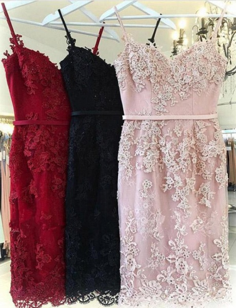 Elegant Sheath Appliques Spaghetti Straps Sweetheart Prom Dress_3