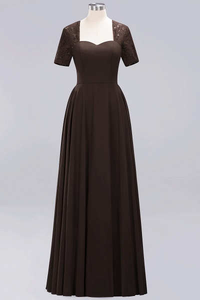 A-Line Chiffon Square Short Sleeves Bridesmaid Dress with Ruffle_7