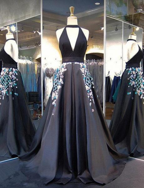 Exquisite Halter Appliques A-line Evening Dress_1