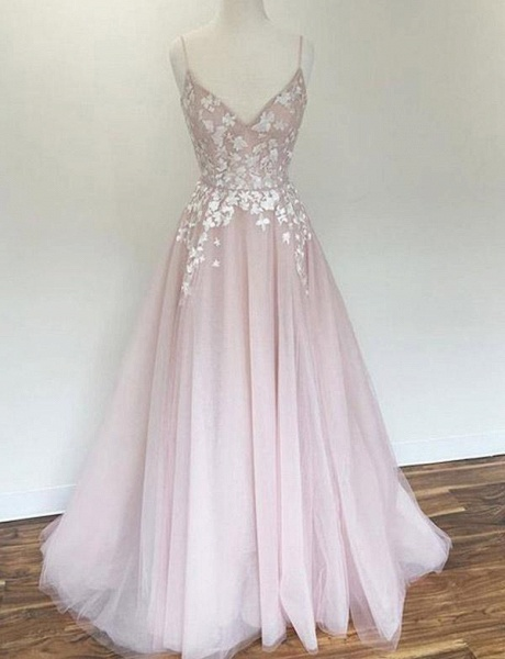 Charming A-Line Appliques Spaghetti Straps Floor-Length Prom Dress_1