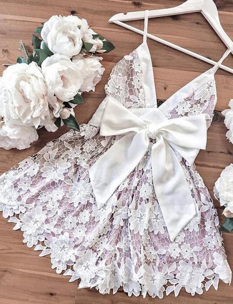 Homecoming Fashion Lace Spaghetti Straps Bowknot Mini A-Line Prom Dress_4