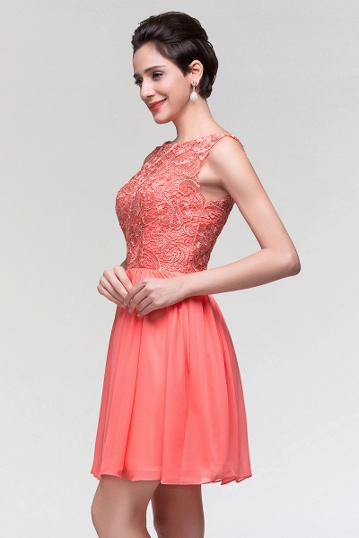 A-Line Chiffon Lace Scoop Sleeveless Ruffles Mini Bridesmaid Dress_6