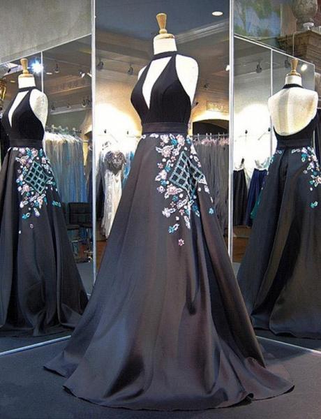 Exquisite Halter Appliques A-line Evening Dress_3