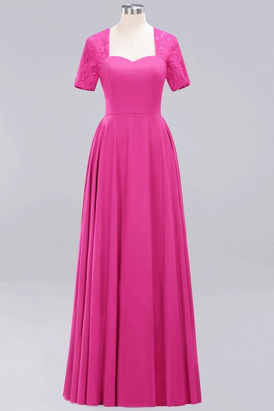 A-Line Chiffon Square Short Sleeves Bridesmaid Dress with Ruffle_5