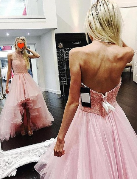 Awesome Halter Tulle A-line Prom Dress_1