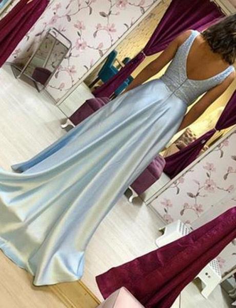 Fabulous V-neck Chiffon A-line Prom Dress_3