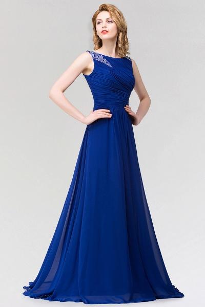A-line Chiffon Jewel Sleeveless Ruffles Floor-Length Bridesmaid Dress with Beadings_5