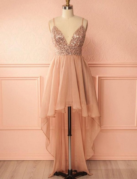 Charming A-Line Sequins Spaghetti Straps V-Neck High Low Prom Homecoming Dress_1