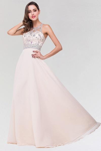 Elegant A-Line Chiffon Tulle Scoop Sleeveless Floor-Length Bridesmaid Dress with Beadings_3