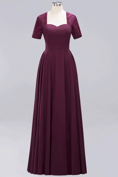A-Line Chiffon Square Short Sleeves Bridesmaid Dress with Ruffle_13