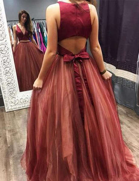 Precious V-neck Tulle Two Pieces Prom Dress_3