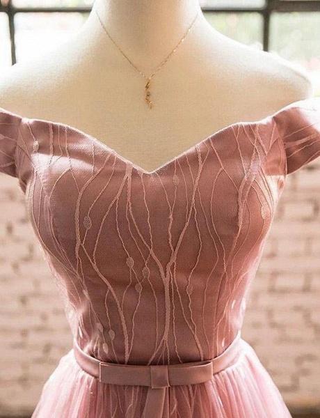 Elegant Short Sleeves A-Line Off-the-Shoulder Tea-Length Homecoming Dress_4