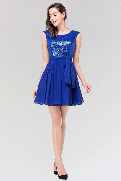 A-line Chiffon Square Sleeveless Bow Ruffles Mini Bridesmaid Dress with Sequins_4