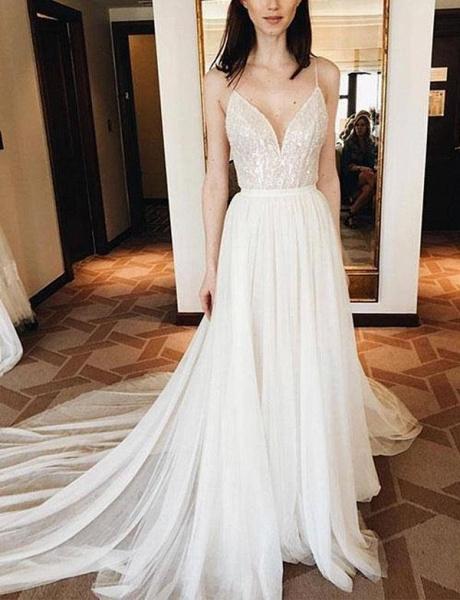 Elegant Lace Spaghetti Straps Court Train A-Line Prom Dress_1