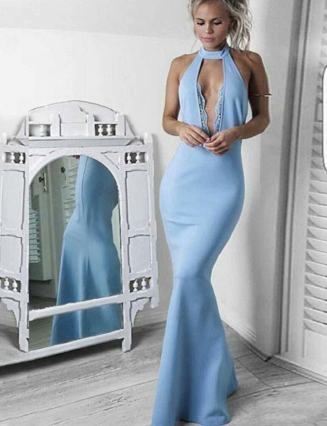 Graceful High Neck Lace Mermaid Prom Dress_1