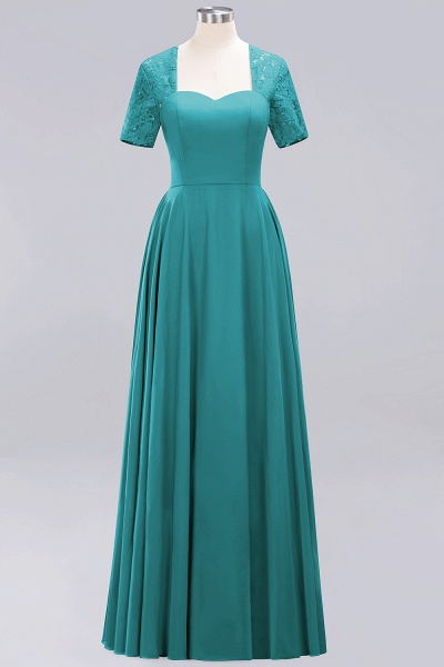 A-Line Chiffon Square Short Sleeves Bridesmaid Dress with Ruffle_22