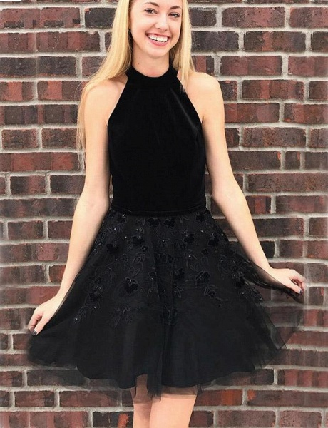 Glorious Halter Tulle A-line Homecoming Dress_1
