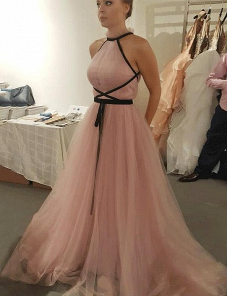 Fascinating High Neck Tulle A-line Evening Dress_1