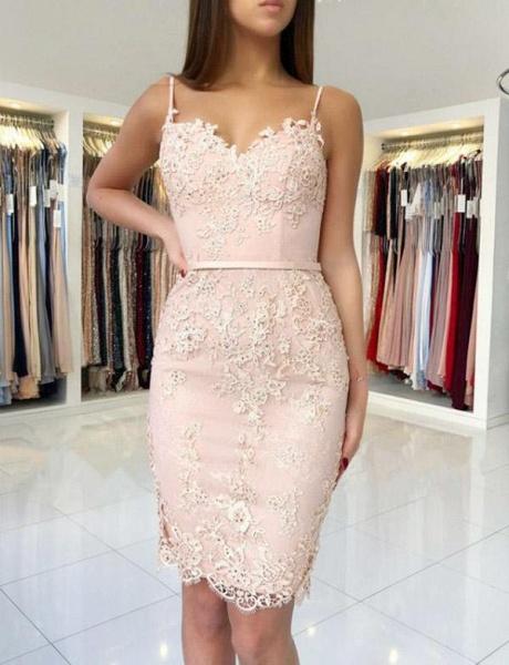 Elegant Sheath Appliques Spaghetti Straps Sweetheart Prom Dress_1