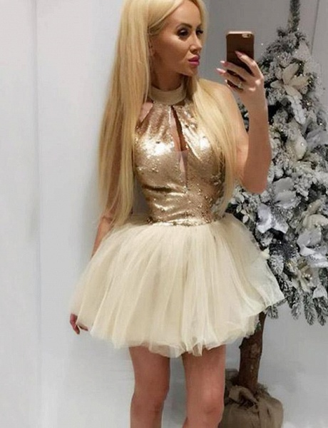 Awesome High Neck Tulle A-line Cocktail Dress_1