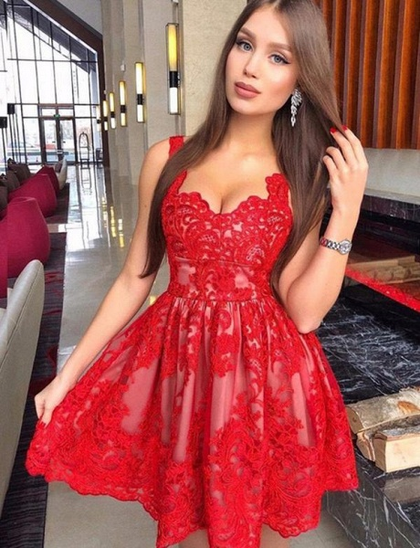 Best Straps Appliques A-line Homecoming Dress_1
