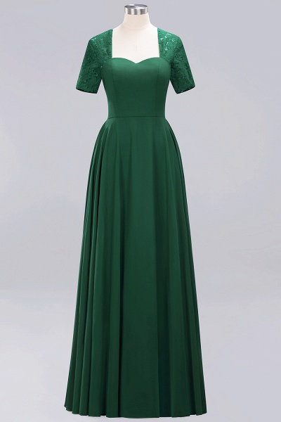 A-Line Chiffon Square Short Sleeves Bridesmaid Dress with Ruffle_21