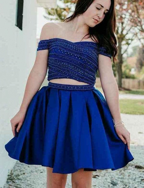 Two Piece A-Line Beading Off-the-Shoulder Mini Prom Dress_1