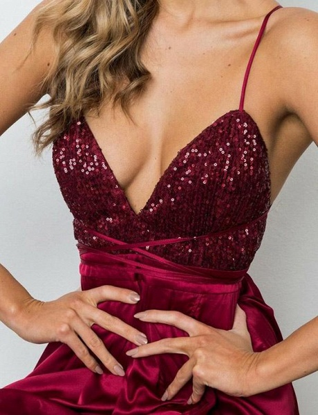 Excellent Spaghetti Straps Sequined A-line Prom Dress_5