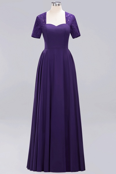 A-Line Chiffon Square Short Sleeves Bridesmaid Dress with Ruffle_12
