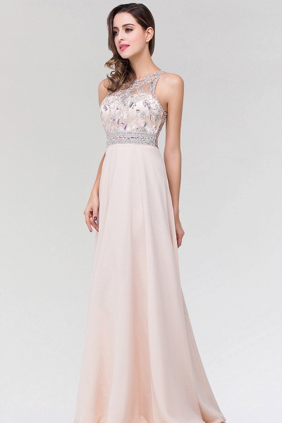 Elegant A-Line Chiffon Tulle Scoop Sleeveless Floor-Length Bridesmaid Dress with Beadings_4