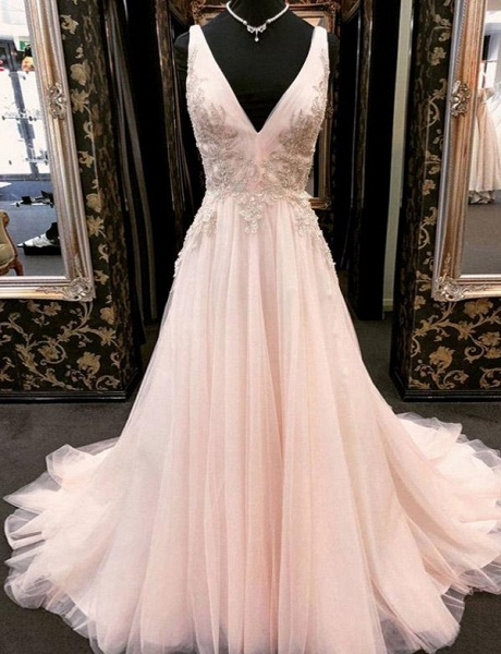 Elegant Appliques A-Line Tulle V-Neck Floor-Length Sleeveless Prom Dress_1