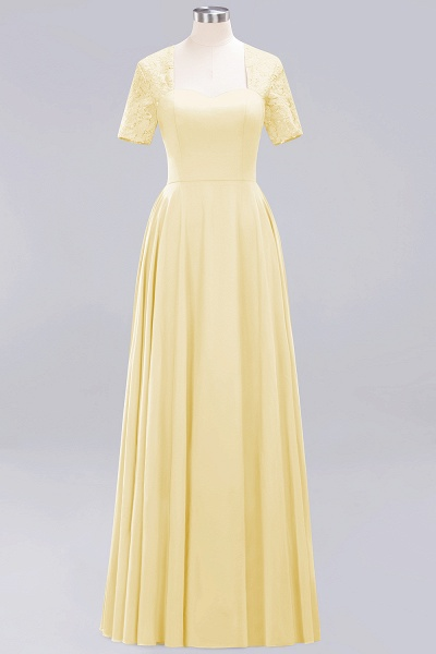 A-Line Chiffon Square Short Sleeves Bridesmaid Dress with Ruffle_11