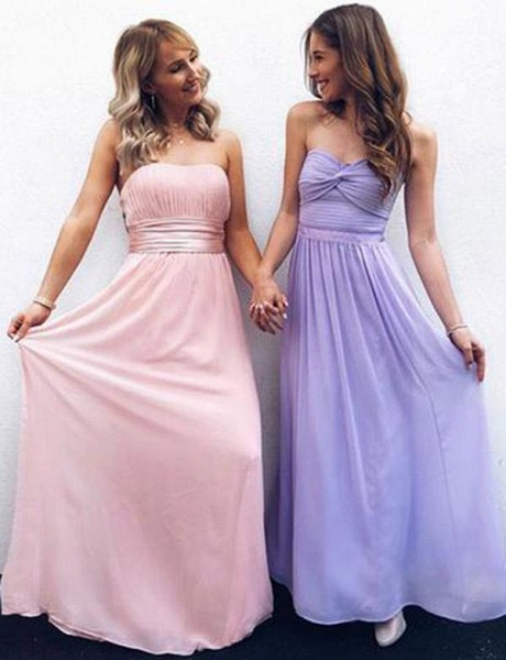 Affordable Strapless Chiffon A-line Prom Dress_1