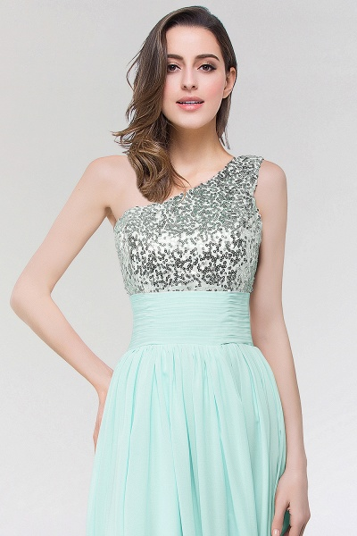 A-line Chiffon One-Shoulder Sleeveless Floor-Length Bridesmaid Dress with Sequins_3