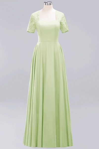 A-Line Chiffon Square Short Sleeves Bridesmaid Dress with Ruffle_24