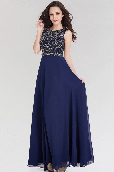 Elegant A-Line Chiffon Jewel Sleeveless Floor-Length Bridesmaid Dress with Beadings_1