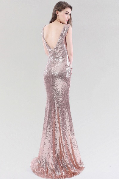 Mermaid Sequined V-Neck Sleeveless Floor-Length Bridesmaid Dress_2