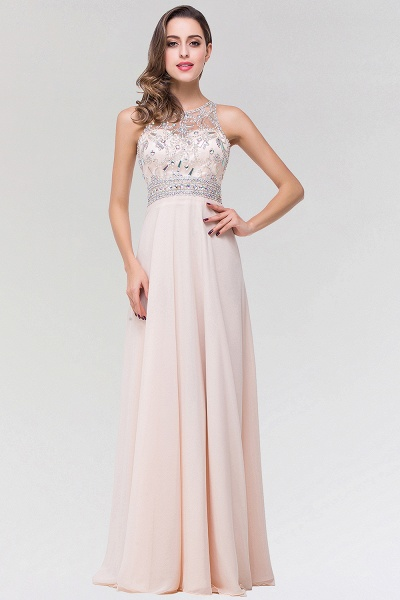 Elegant A-Line Chiffon Tulle Scoop Sleeveless Floor-Length Bridesmaid Dress with Beadings_1