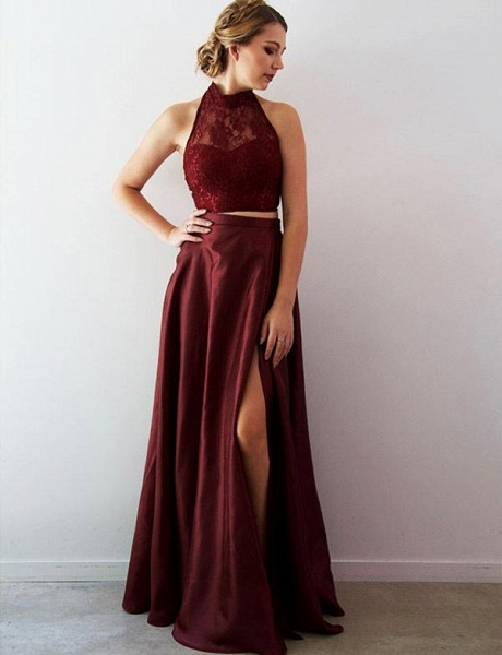 Attractive Halter Lace Two Pieces Evening Dress_1