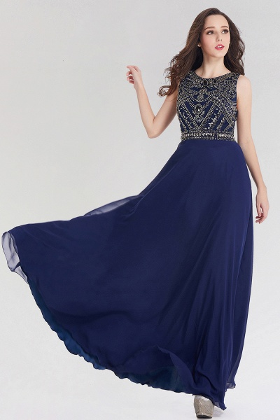 Elegant A-Line Chiffon Jewel Sleeveless Floor-Length Bridesmaid Dress with Beadings_3