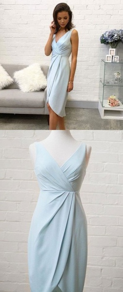 Elegant Sleeveless A-Line V-Neck High Low Homecoming Dress_3