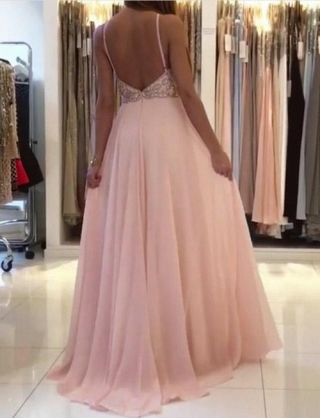 Beautiful Spaghetti Straps Beading A-line Prom Dress_4