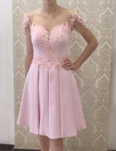 Glamorous A-Line Appliques Short Sleeves Knee-Length Prom Dress_1